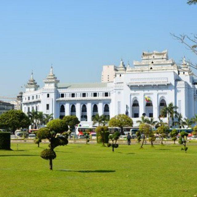 Yangon's City Hall and Mahabadur garden